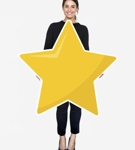 Businesswoman holding a golden star rating symbol